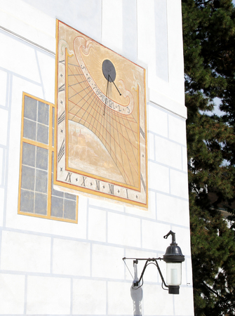 sun dial: Historical Sundial Or Sun Clock in Cesky Krumlov, South Bohemia, Czech Republic. Editorial