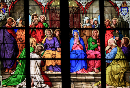 stained glass church: Stained glass church window depicting Pentecost in the Dom of Cologne, Germany.