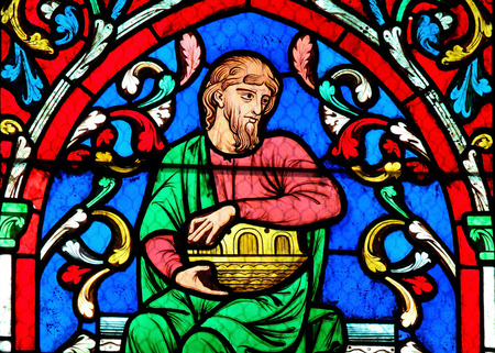 ark: Noah and his Ark on a Stained Glass window in Notre Dame Cathedral of Paris, France. Editorial