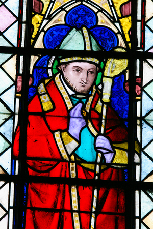 sinterklaas: Stained Glass window in the Church of Braine-le-Chateau, Wallonia, Belgium, depicting Saint Nicholas of Bari (Sinterklaas).