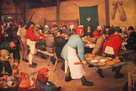 フランダースのルネサンスの絵画 (1567) ピーター ・ ブリューゲルで、農民の結婚式を描いた 写真素材 - 67634235