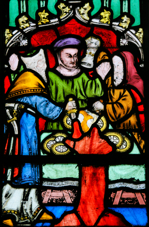 sacramental: Stained Glass window in the Church of Braine-le-Chateau, Wallonia, Belgium, depicting the antisemitic legend of Jews stealing sacramental bread.