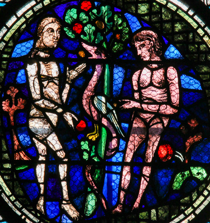 sinful: Stained Glass in Notre Dame Cathedral of Paris depicting Adam and Eve and the Original Sin with the Forbidden Fruit.