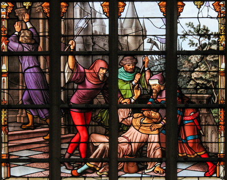 sacramental: Stained Glass depicting the legend of Jews stealing sacramental bread, in the Cathedral of Brussels, Belgium. This antisemitic legend dates back to 1370.