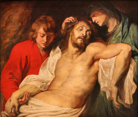 Painting of the Lamentation over the dead Christ by Rubens (1614).