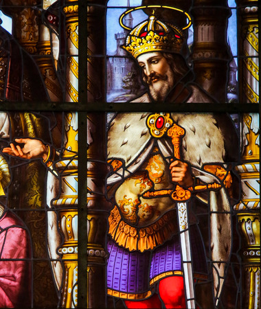 gent: Stained Glass window depicting Saint Louis (King Louis IX of France) in St Nicholas Church in Ghent, Belgium