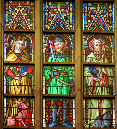 hermes: Stained Glass window depicting Saints Margaret, Hermes and Hildebert in the Cathedral of Saint Bavo in Ghent, Flanders, Belgium.