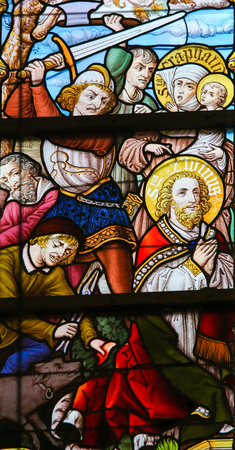 Stained Glass depicting the Martyrdom of Saint Livinus, in the Cathedral of Saint Bavo in Ghent, Belgium.