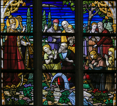 Stained Glass window depicting a Miracle by Saint Landoald of Ghent, in the Cathedral of Saint Bavo in Ghent, Belgium.