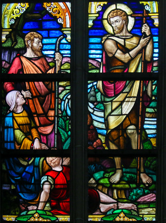 johannes: Stained Glass window depicting Saint John the Baptist in the Cathedral of Saint Bavo in Ghent, Flanders, Belgium.