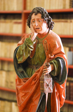 st john: Statue of St John the Evangelist in the Library of Strahov Monastery, Prague, Czech Republic