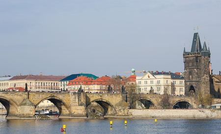 charles bridge: View on the Charles Bridge and the 1357 Old Town Tower in Prague, Czech Republic