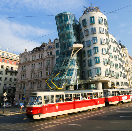 The Dancing House or Fred and Ginger, is the nickname given to the Nationale-Nederlanden building on Rasin Embankment in Prague, Czech Republic