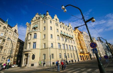 Typical architecture of Nove Mesto or New Town in Prague, Czech Republic Redakční
