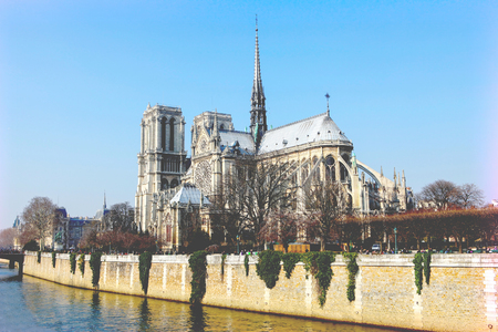 cite: Notre Dame cathedral in the center of Paris, France, on a sunny day