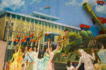 realism: Painting in the Independence Palace in Ho Chi Minh City, Vietnam, depicting the Liberation of Saigon by the Vietcong. Editorial