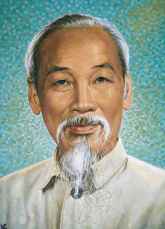 Portrait of Ho Chi Minh in the Old Post Building in Ho Chi Minh City, Vietnam Editorial