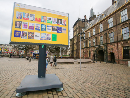 Board with the election posters of all Dutch political parties at the Binnenhof in The Hague, the Netherlands