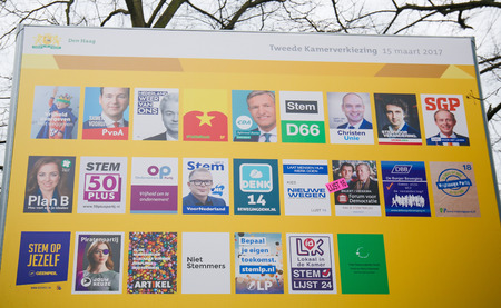 dutch: Board with the election posters of all Dutch political parties at the Binnenhof in The Hague, the Netherlands