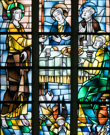Stained Glass in the Church of Tervuren, Belgium, depicting Jesus at the Last Supper on Maundy Thursday