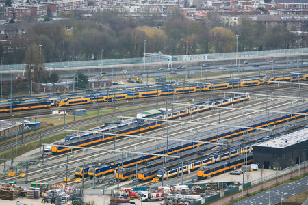 multimodal: Aerial view on railroad tracks and trains at the Railway Station of the Hague, the Netherlands.