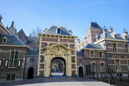 the hague: The Hagues Binnenhof in the Hague, the Netherlands. This building houses the meeting place of both houses of the States General.