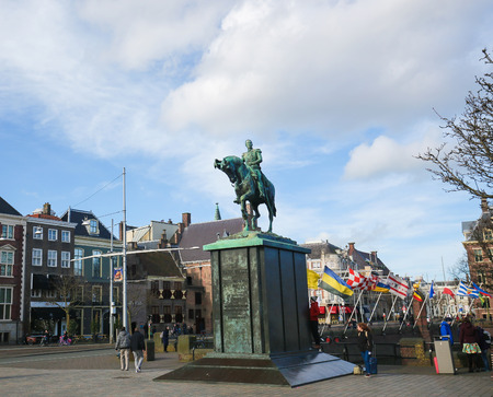 holland: Equestrian Statue of King William II (1792-1849) of the Netherlands at Buitenhof in the Hague, the Netherlands. Editorial