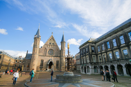 holland: The Ridderzaal or Hall of Knights, main building of the 13th Century Binnenhof in the Hague, the Netherlands. This building houses the meeting place of both houses of the States General.