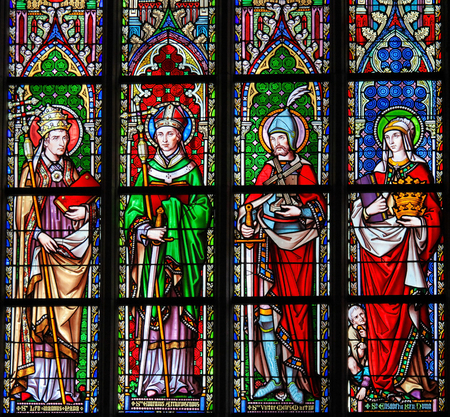 Stained Glass in the Church of Our Blessed Lady of the Sablon in Brussels, Belgium, depicting Catholic Saints