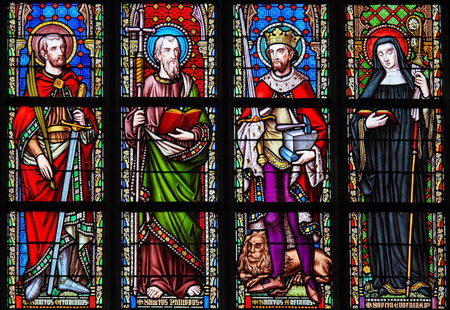 Stained Glass in the Church of Our Blessed Lady of the Sablon in Brussels, Belgium