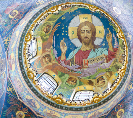 Mosaic in the Church of the Savior on Spilled Blood in St. Petersburg, Russia, depicting Jesus Christ Pantocrator