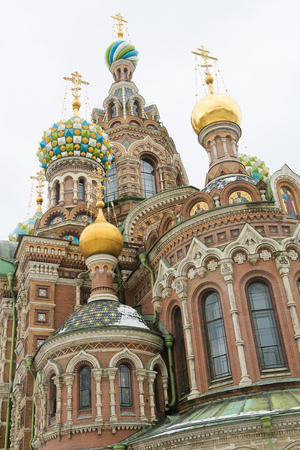 The Onion Domes of the Church of the Savior on Spilled Blood, one of the main sights of St. Petersburg, Russia. Stock Photo