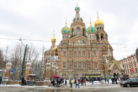 The Onion Domes of the Church of the Savior on Spilled Blood, one of the main sights of St. Petersburg, Russia. Editorial