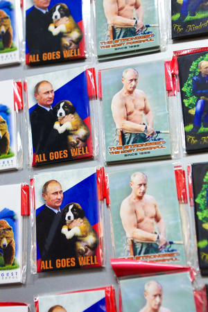 the strongest: Souvenirs in St Petersburg depicting Russian President Vladimir Putin, with the texts All Goes Well and The Strongest, the Most Powerful Editorial