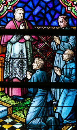 Stained Glass window in the Cathedral of Saint Bavo in Ghent, Belgium, depicting Belgian Roman Catholic missionaries to the Congo