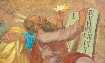 Fresco of Moses and the Ten Commandments at Loreta, a large pilgrimage destination in Hradcany, Prague, Czech Republic Editorial