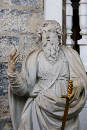 Statue of Saint Paul or Paulus in the Cathedral of Ghent, Flanders, Belgium