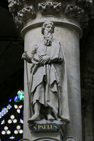Statue of Saint Paul or Paulus in St Gummarus Church in Lier, Belgium, carrying a sword. Editorial