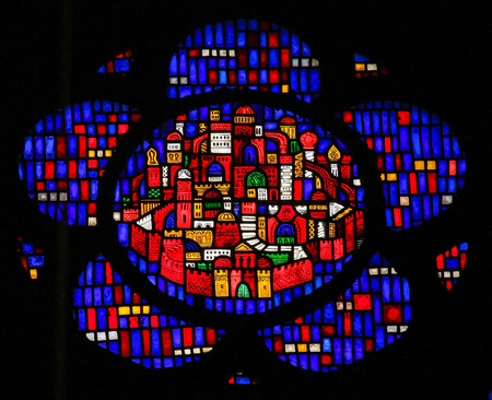 Stained Glass in Wormser Dom in Worms, Germany, depicting the New Jerusalem, capital of the Messianic Kingdom.