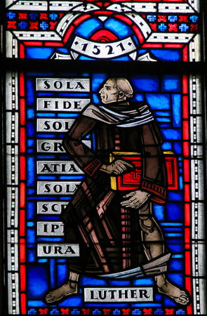 Stained Glass in Wormser Dom in Worms, Germany, depicting Martin Luther