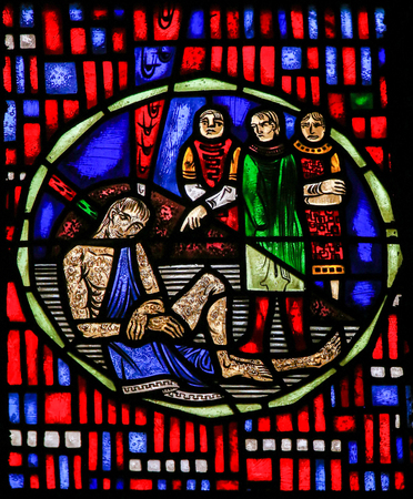 Stained Glass in Wormser Dom in Worms, Germany, depicting the Prophet Job