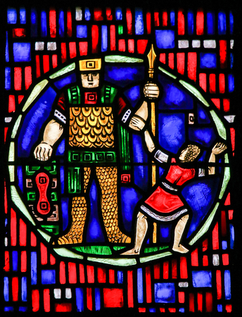 Stained Glass in Wormser Dom in Worms, Germany, depicting David and Goliath Editorial
