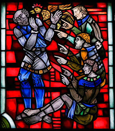 Stained Glass in Wormser Dom in Worms, Germany, depicting the Denial of Saint Peter