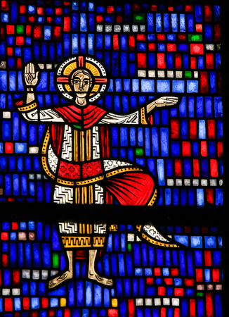Jesus Christ on a Stained Glass in Wormser Dom in Worms, Germany