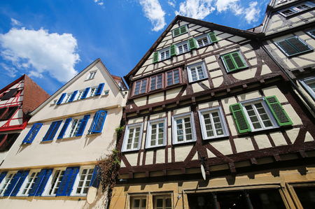 Typical half-timbered houses in the historical center of Tubingen, Baden Wurttemberg, Germany.