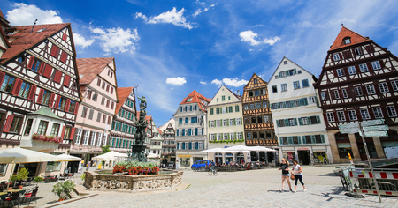 fachwerk: Neptune Fountain and half-timbered houses in the historical center of Tubingen, Baden Wurttemberg, Germany.