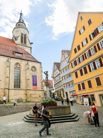 Stiftskirche, a late gothic church built in 1470 in the historic center of Tubingen, Baden Wurttemberg, Germany.