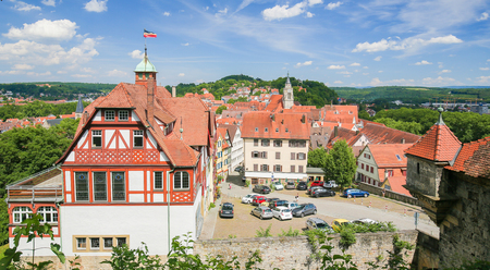 View from the Castle on the Altstadt or historical center of Tubingen, Baden Wurttemberg, Germany.