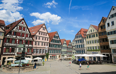 Historic half-timbered houses in the center of Tubingen, Baden-Wurttemberg, Germany