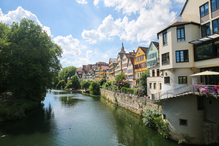 half timbered house: View on houses and the Stiftskirche in the historical center of Tubingen, by the River Neckar in Baden Wurttemberg, Germany.